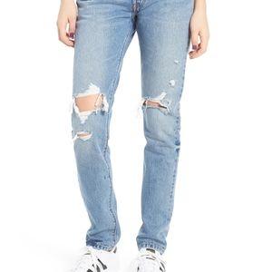 NWT Levi's 501 distressed skinny leg jeans